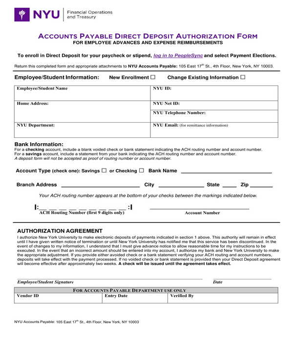 accounts payable direct deposit authorization form