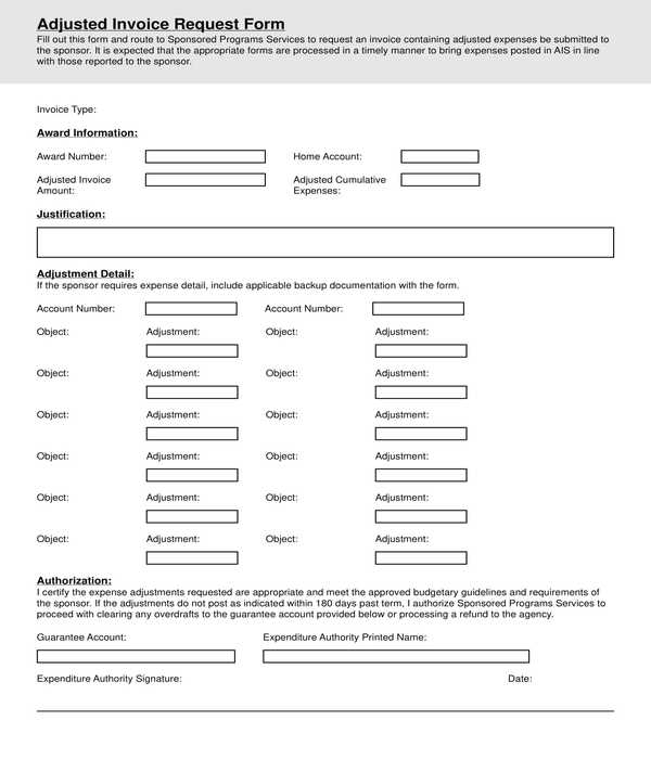 adjusted invoice request form
