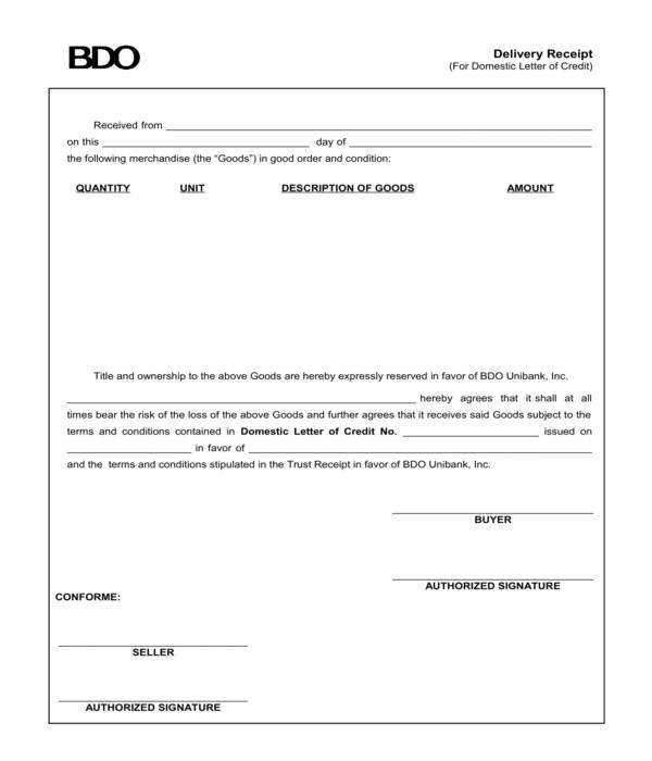bank goods delivery receipt template form