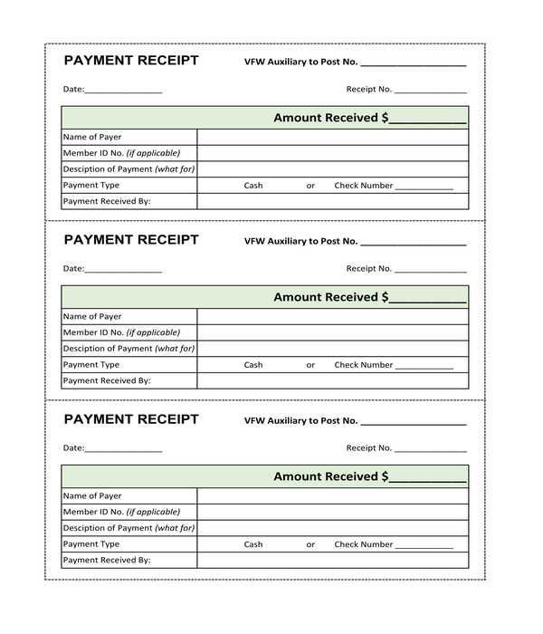 basic cash payment receipt form template