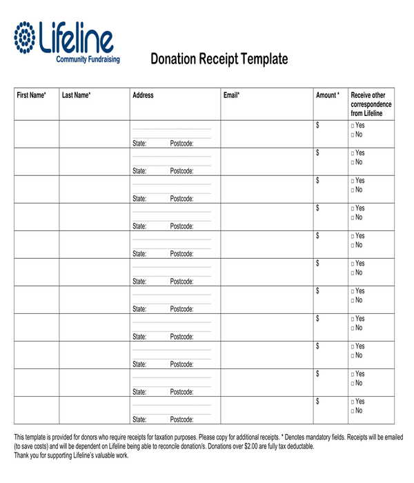 basic donation receipt template form
