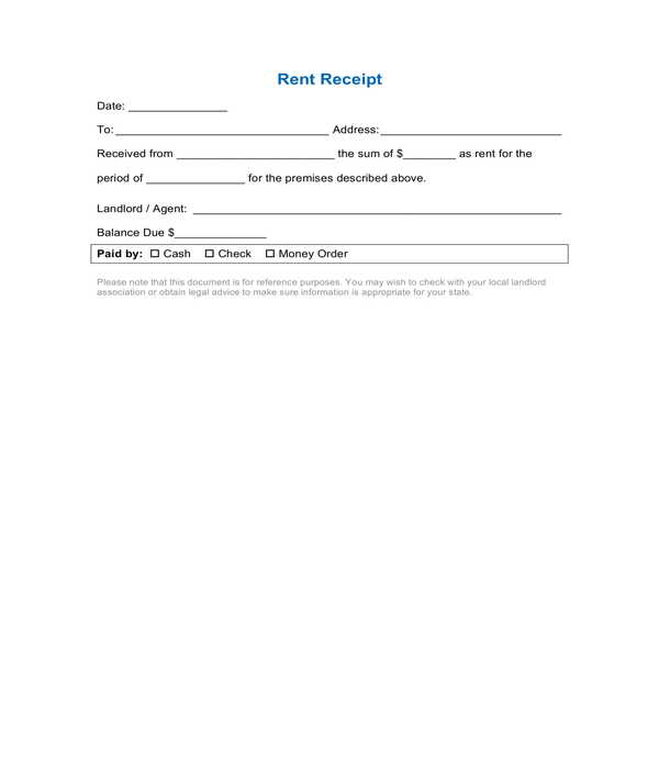 basic rent receipt form template