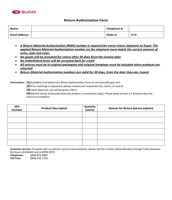 basic return authorization form
