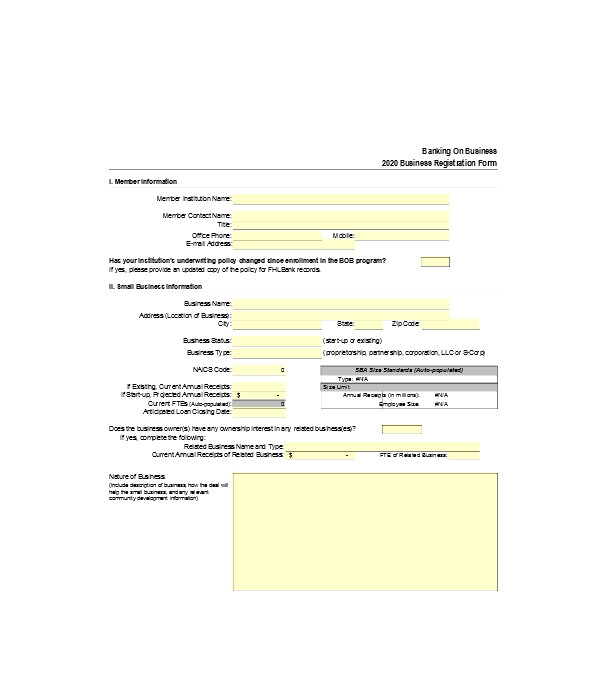 business job registration form
