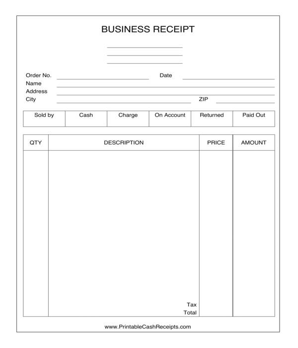 business receipt form template sample