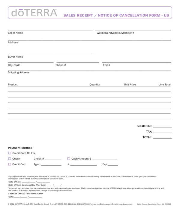 business sales receipt cancellation form template
