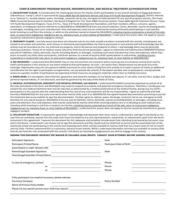 camp participant waiver and medical treatment authorization form