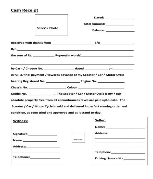 car cash payment receipt form template
