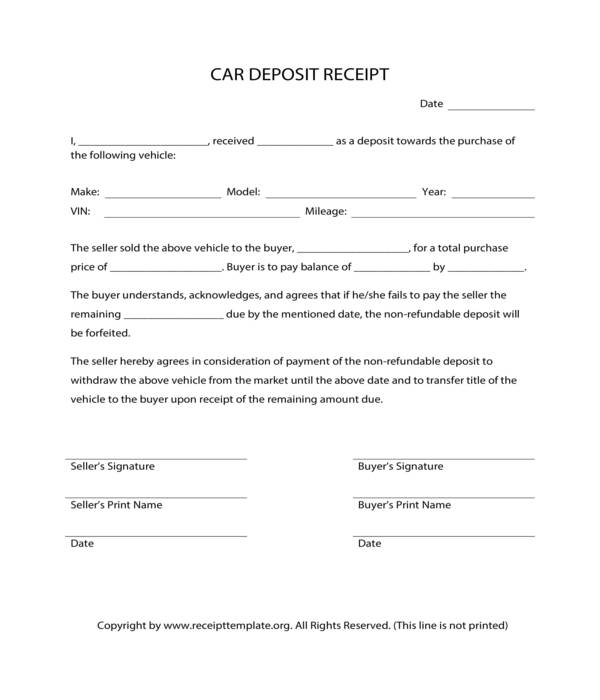 car deposit receipt form template