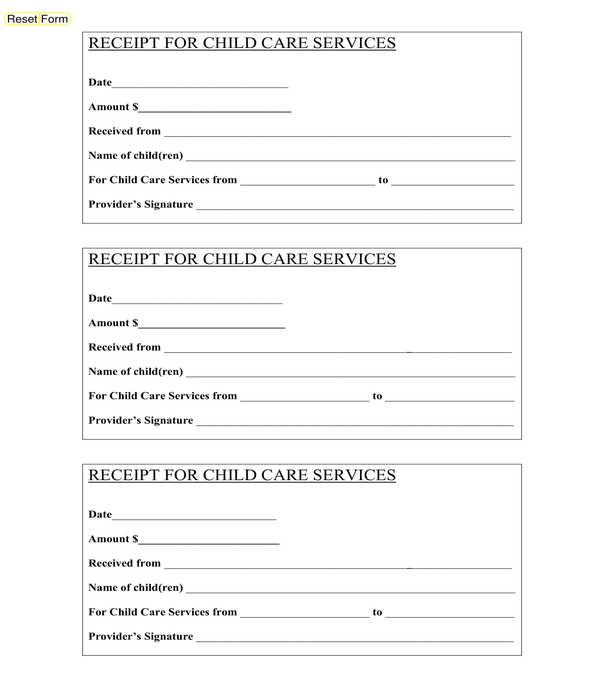 child care service receipt form template