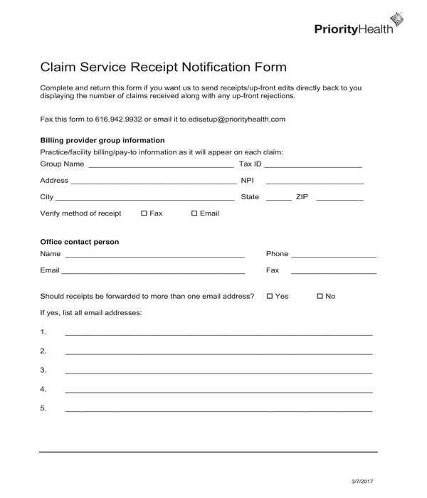 claim service receipt notification form
