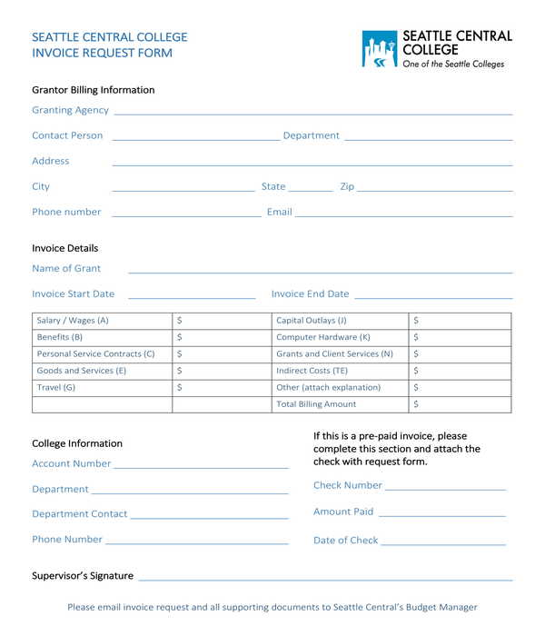 college invoice request form