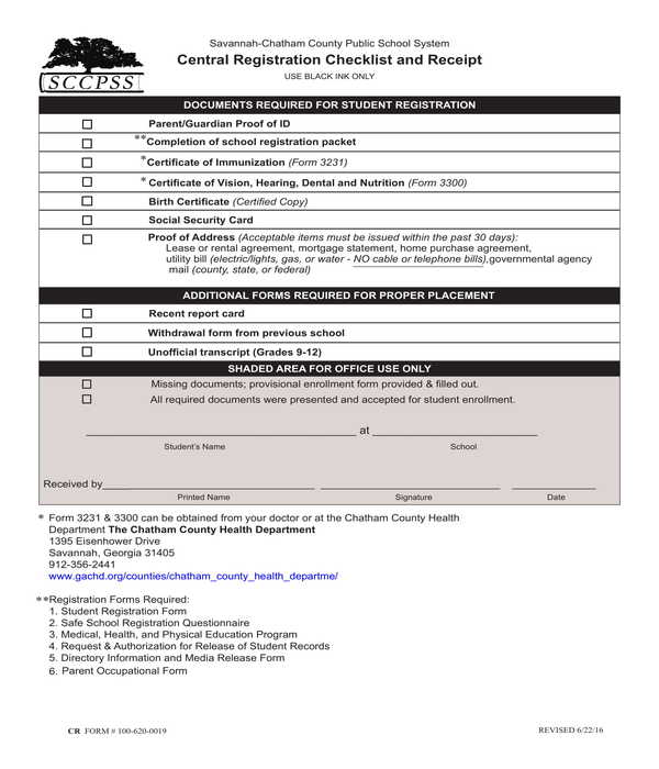 county school system registration checklist and receipt form