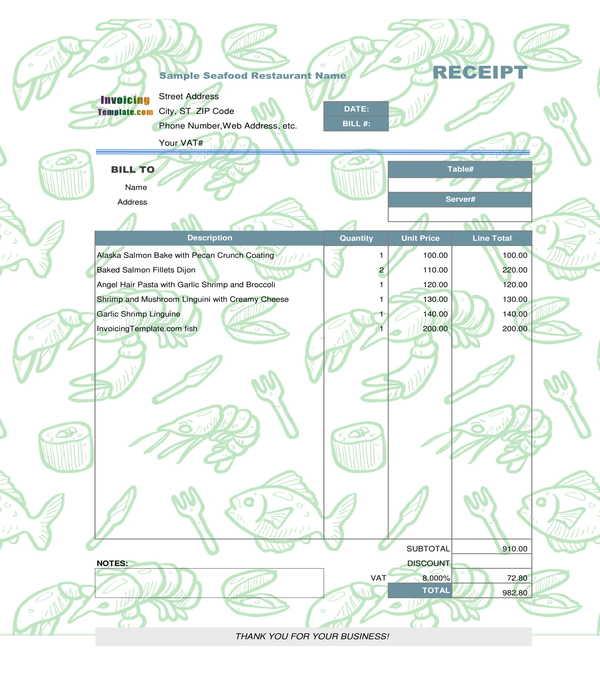 creative restaurant receipt form template