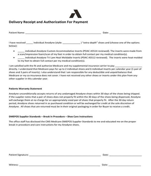 delivery receipt payment authorization template form