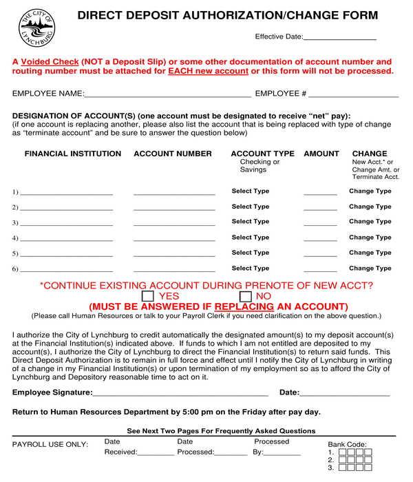 direct deposit authorization change form