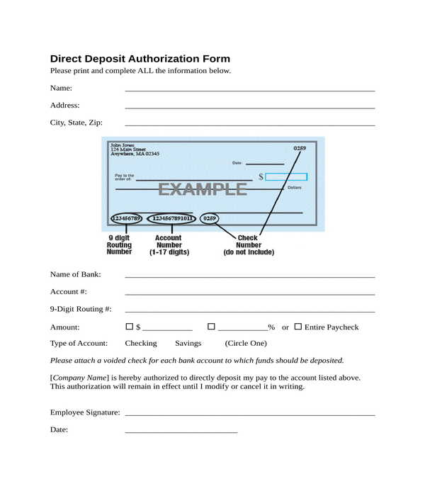 direct deposit authorization form in doc