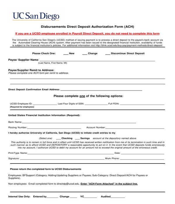 disbursements direct deposit authorization form