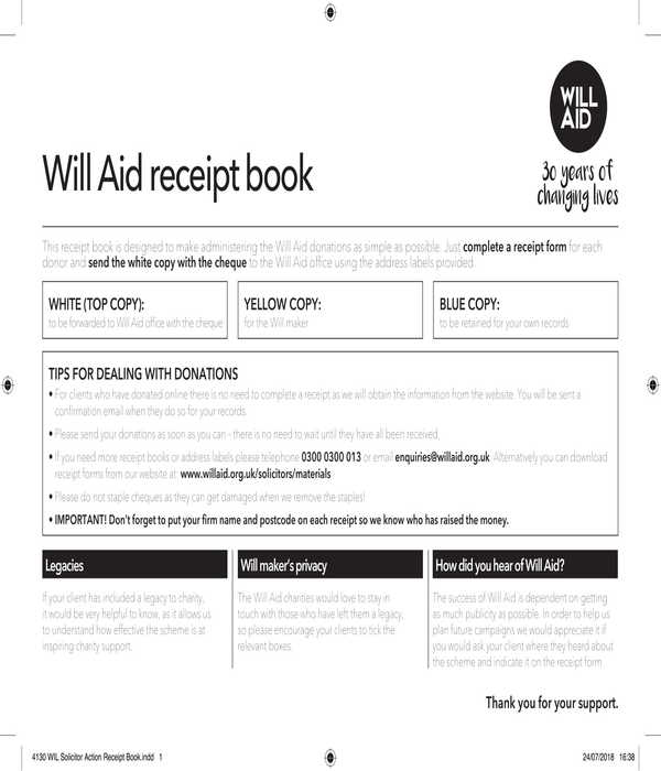 donation receipt book form