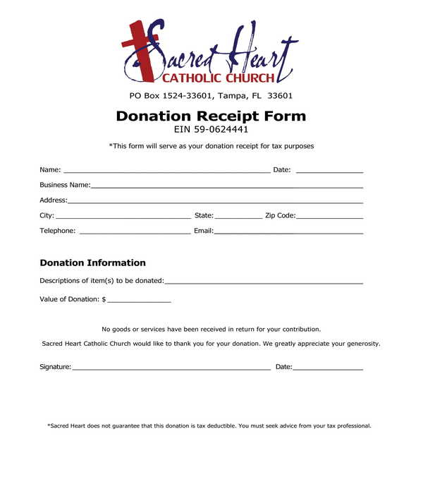 donation receipt template form sample