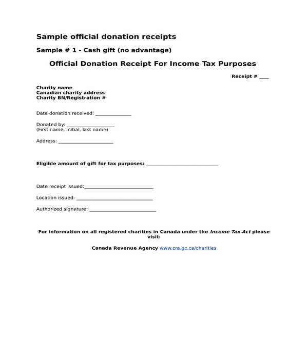 donation receipt template form in doc