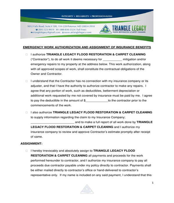 emergency work authorization form