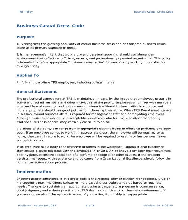 employee business casual dress code policy form