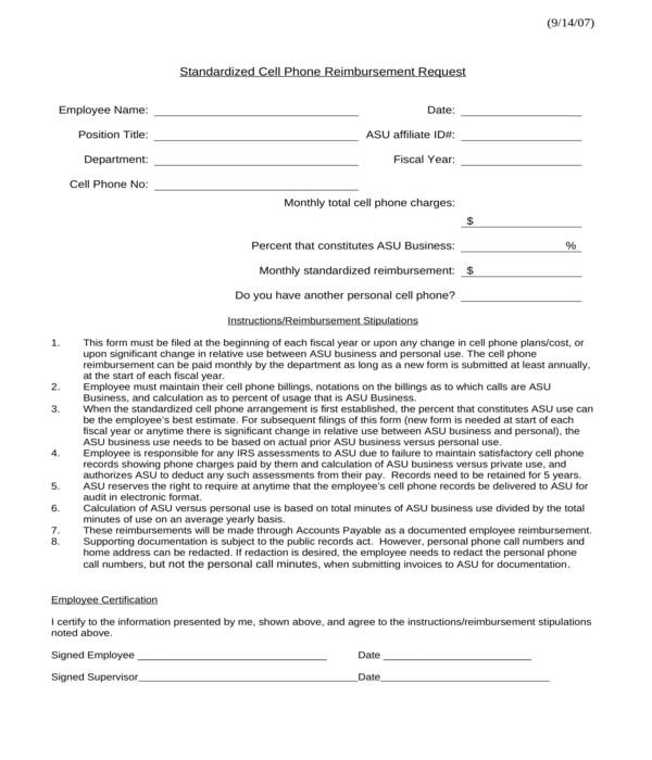 employee cell phone reimbursement request form