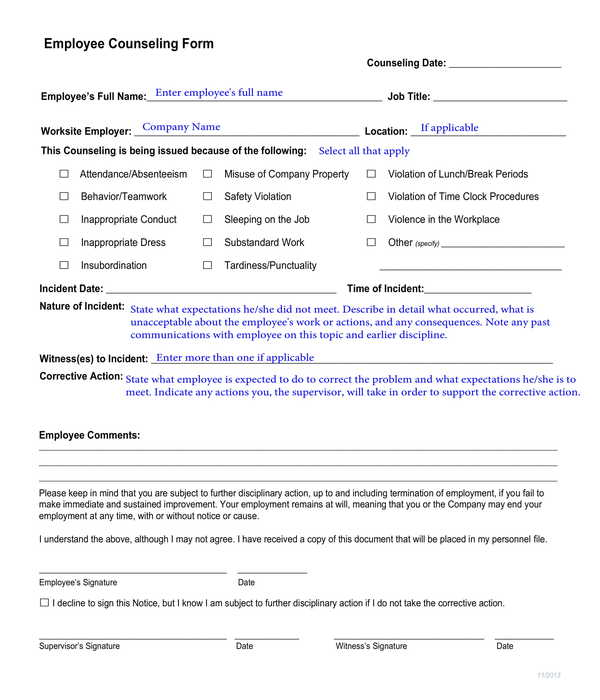employee counseling form sample