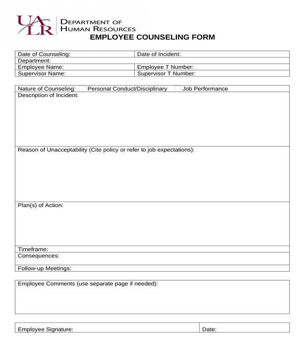 employee counseling form in doc