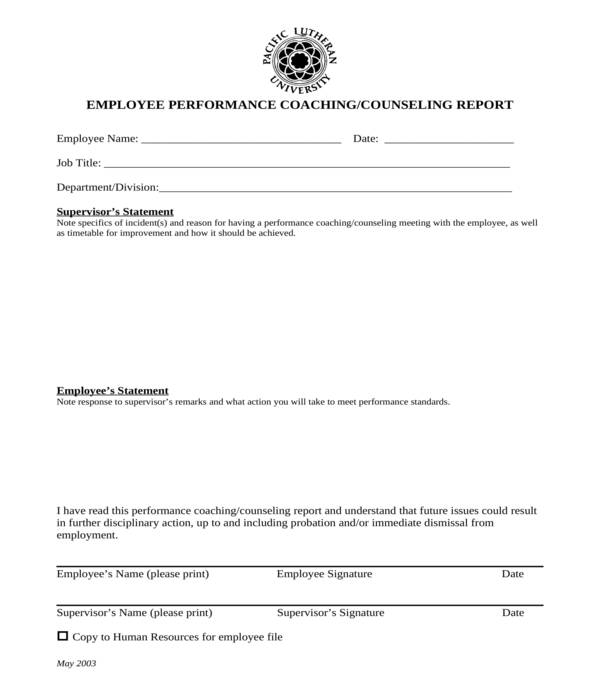 employee counseling report form