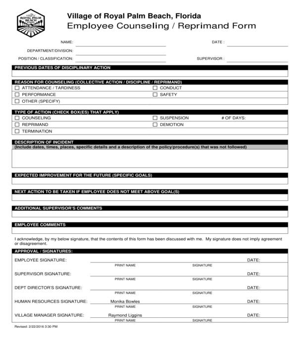 employee counseling reprimand form
