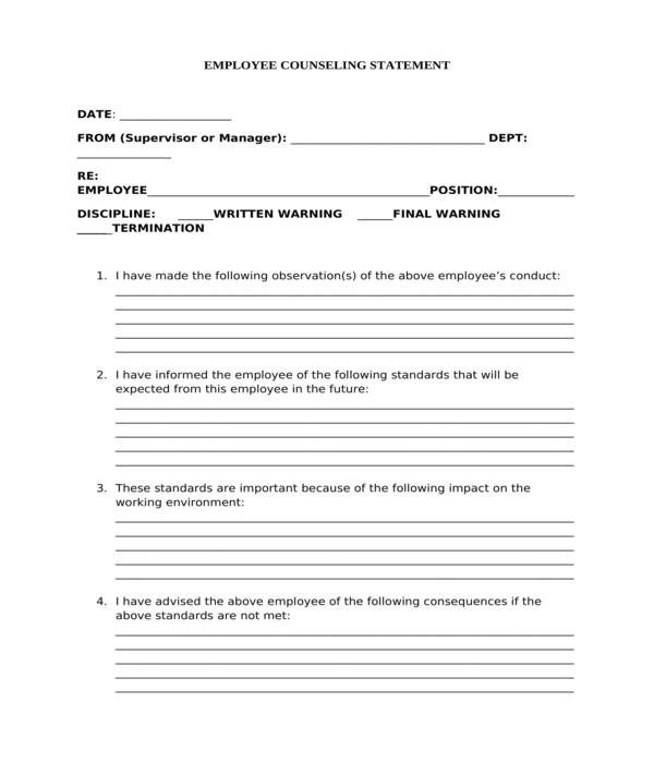 employee counseling statement form