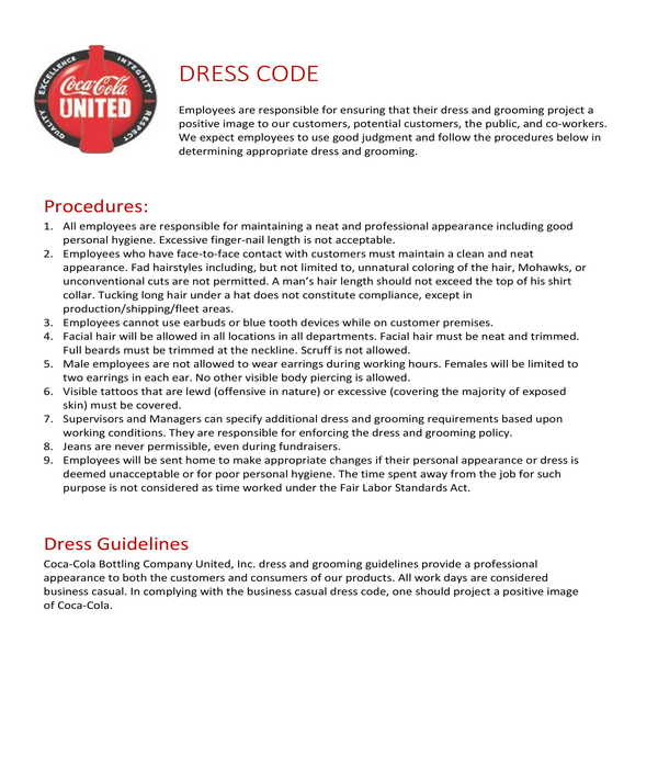 employee dress code policy and procedure form