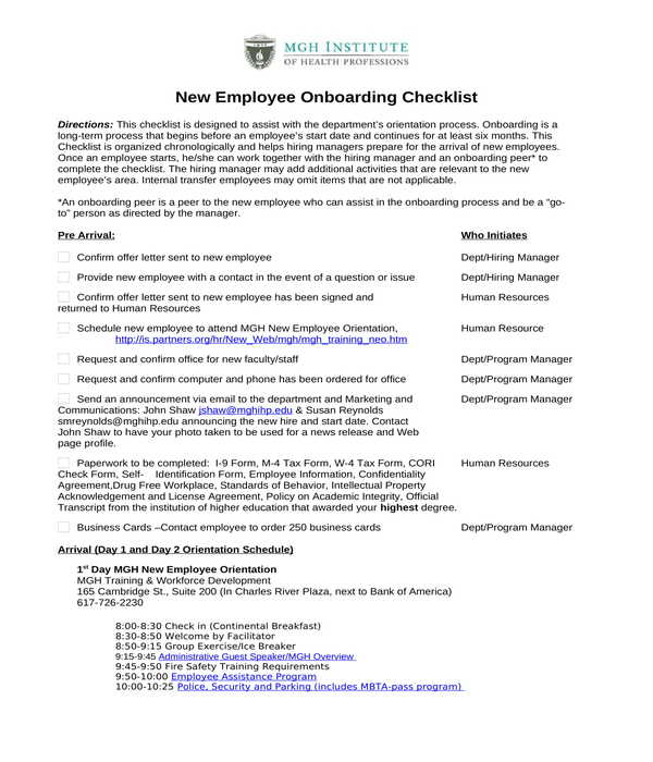 employee onboarding checklist form in doc