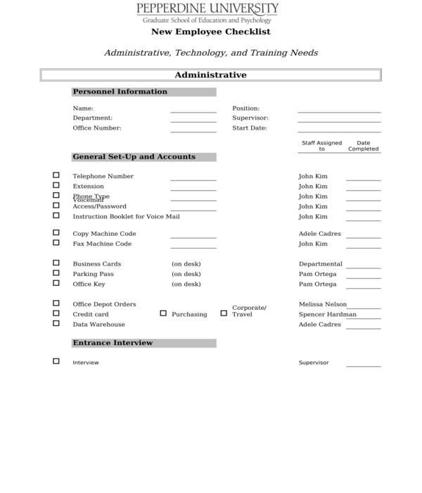 employee onboarding checklist form in xls