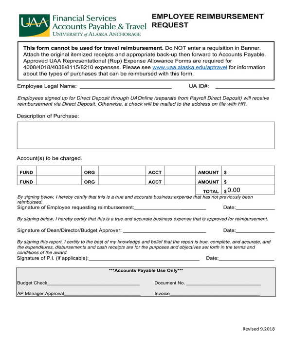 employee reimbursement form sample