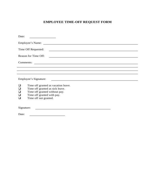employee time off request form in doc