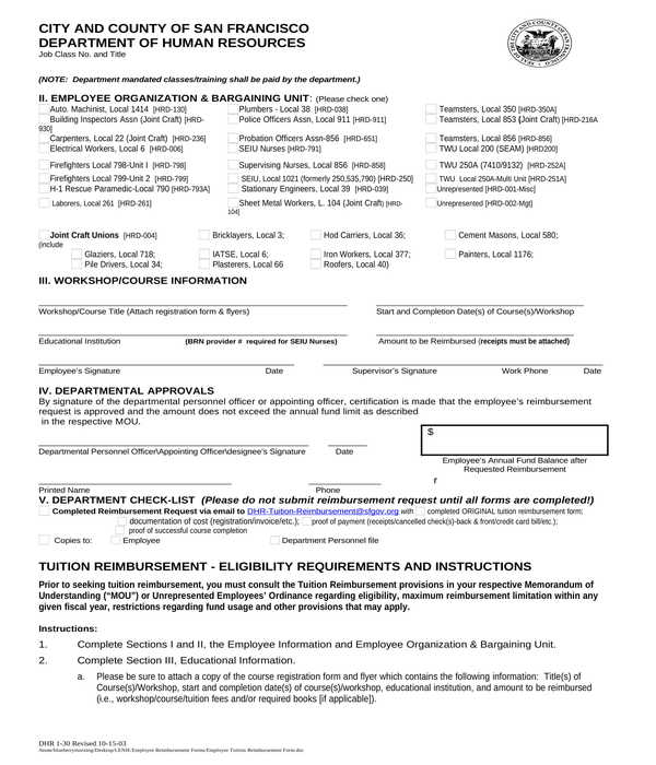 employee tuition reimbursement form