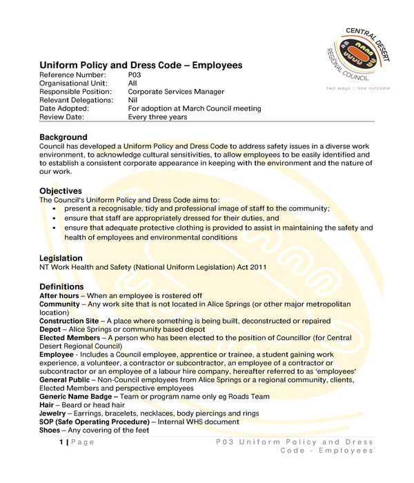 employee uniform and dress code policy form