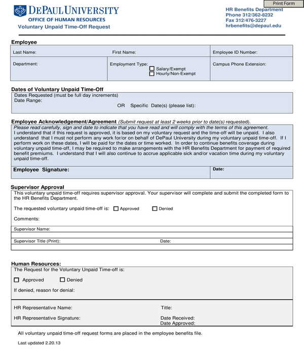 employee voluntary unpaid time off request form
