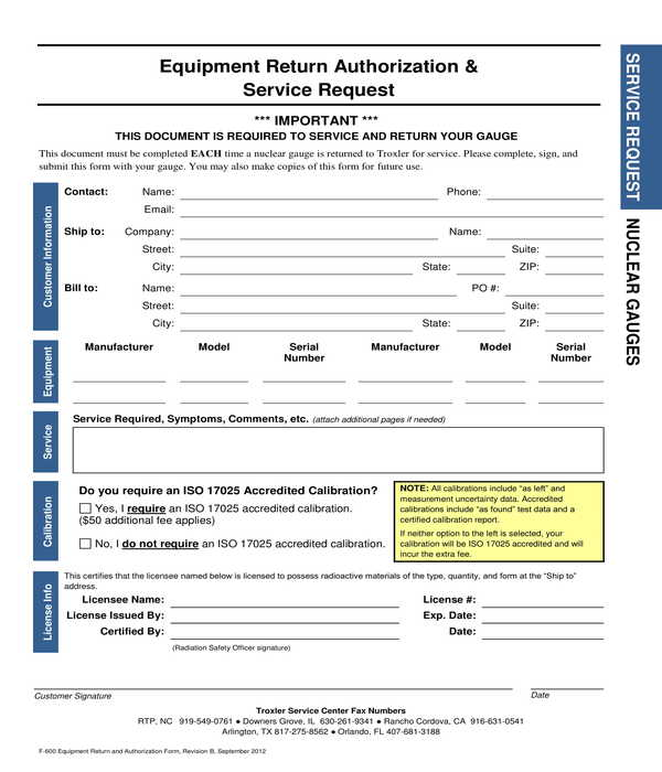 equipment return authorization and service request form sample