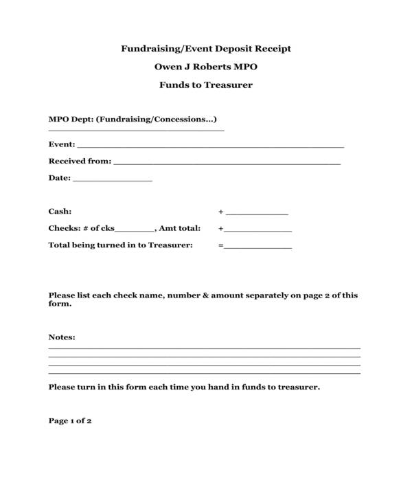 event deposit receipt form template