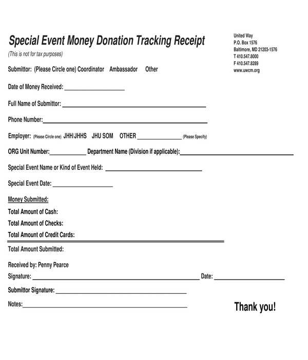 event money donation tracking receipt form template