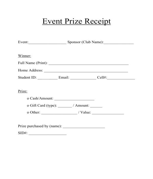event prize receipt form template