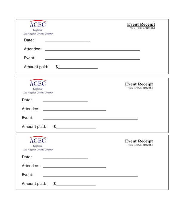 event receipt form template sample