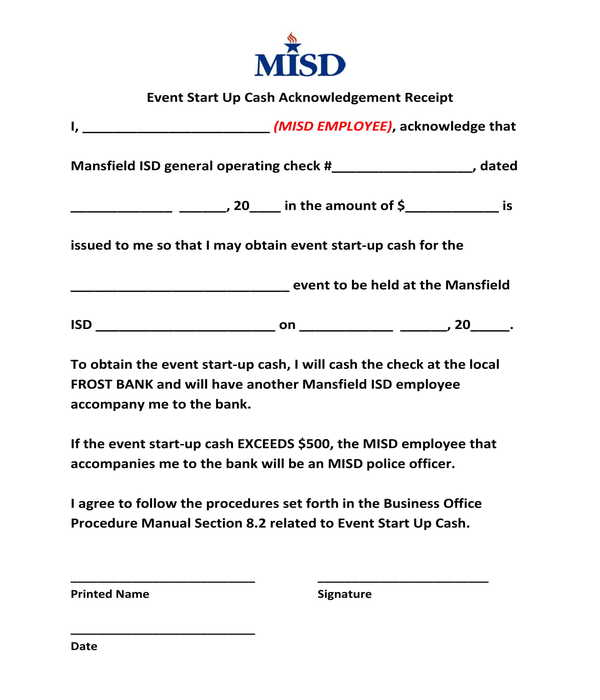 event start up cash acknowledgement receipt form template