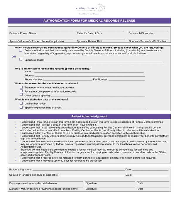fertility center medical records release authorization form