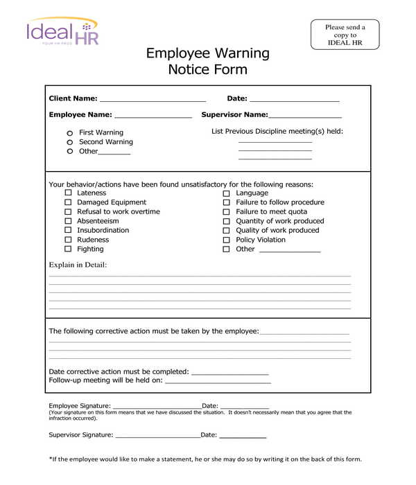 fillable employee warning notice form