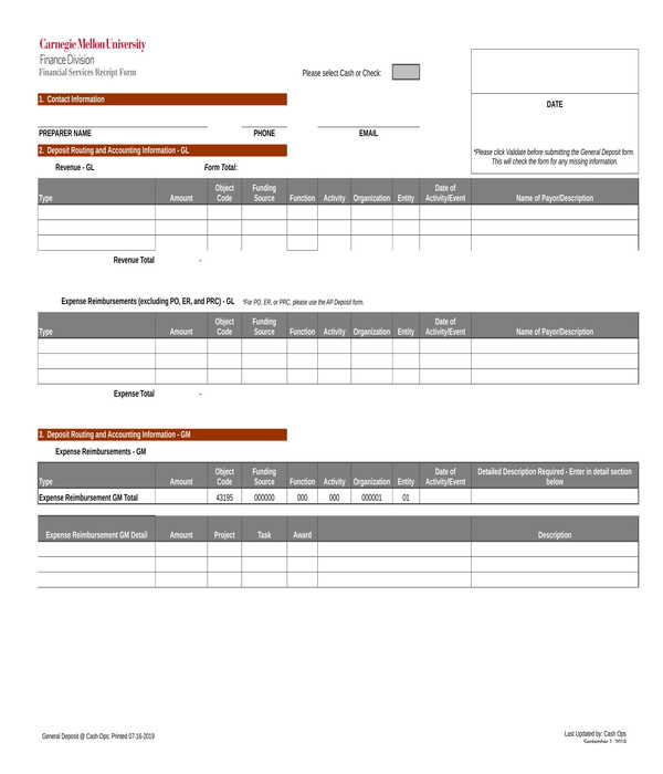 financial service receipt form template